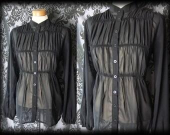Gothic Black Sheer Ruched Bib RAPTURE Blouse Tunic Smock 12 14 Victorian Vintage