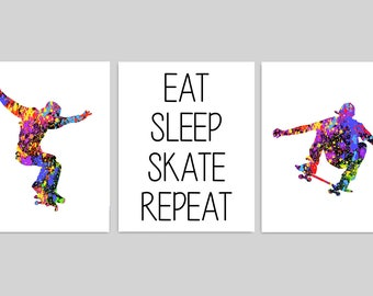 Skateboarding Wall Art, Skater Prints, Eat Sleep Skate Repeat, Teen Boy Wall Art, Skateboarding Decor, Skate Pictures, Teen Boy Bedroom Art