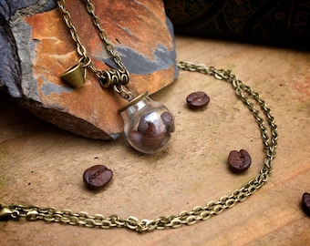Coffee Bean Necklace Real Coffee Beans in Glass Terrarium Locket Nerdy Jewellery Coffee Lover Necklace