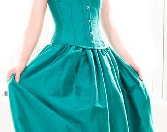 Alternative wedding dress or ball gown, corset dress, corset gown, emerald green taffeta, bustle, hand madeflowers, UK made by Velvet Tigers