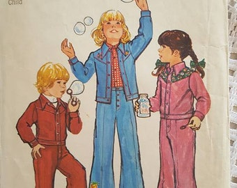 1974 Childs Unlined Jacket and Bell-Bottom Pants Sewing Pattern Simplicity 6533 Size 4