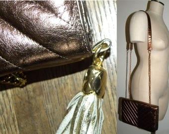 1980s 80s Metallic COPPER Leather Purse / Marlene's Gaines Handbag / Quilted shoulder bag / Avant Garde / Mod / Chic / Vintage