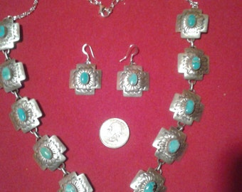 Navajo Squash Blossom Cross Path Necklace Earrings, Sterling Silver, Turquoise, Bold, Big, Beautiful, Dead Pawn, Marcella James, MJ1
