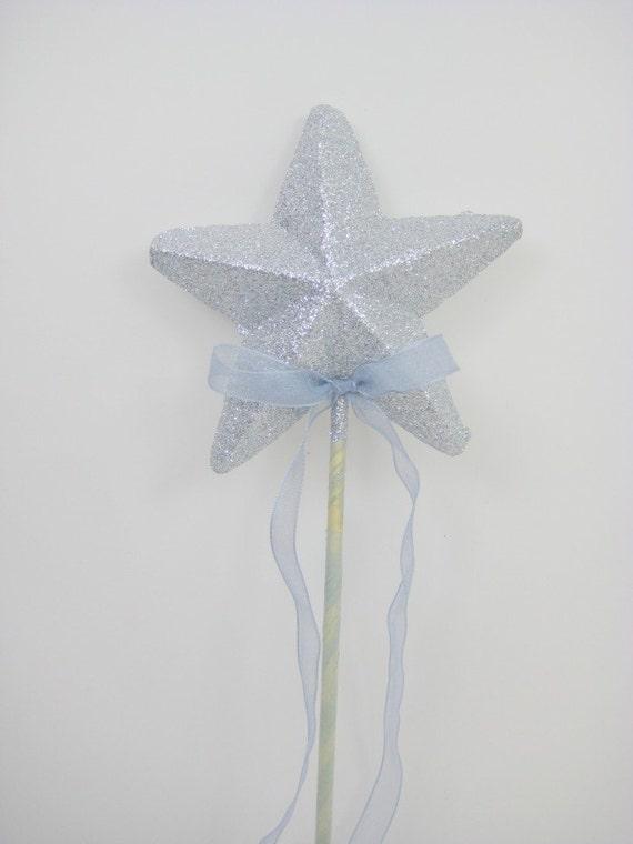 5 silver glitter star wands with organza trails bulk offer for Glitter wand