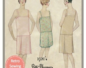 1920s Petti-Bloomer Lingerie Sewing Pattern -  Full Size Paper Pattern