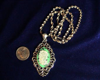 """Sterling Silver, Thai Jade, and Mother of Pearl Cameo Pendant on 24"""" Italian Sterling Silver Twisted Chain, Free Shipping (310)"""