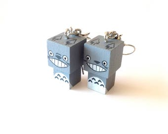 "Earrings Wooden Dolls ""Totoro"" - Hand-made"