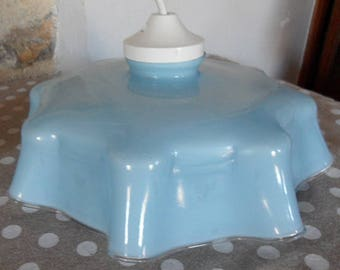 French vintage milk glass light blue shade from the 1930s.