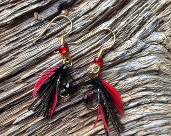 Steelhead fly earrings: red black fly earrings, trout fly earrings, fly fishing earrings, fisherwoman jewelry