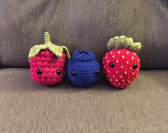 ONE Crochet Fruit-Raspberry, Blueberry, Strawberry Stuffed Animal/Toy (Made to Order)