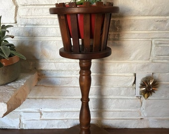 Mid Century Wooden Plant Stand