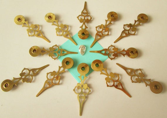 12 Vintage Solid Brass Serpentine Style Clock Hands for your Clock Projects, Jewelry Making, Steampunk Art, Crafts & Etc.... 2 1/4""