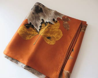 Vintage Orange and gold scarf, Gift for her, Rustic orange scarf