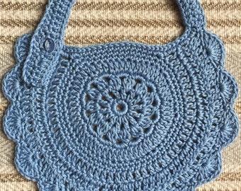 Crocheted cotton baby bib