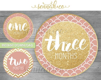 Milestone Stickers or Snapchat Geofilters - Downloadable - Glitter Pink Blush Patterns - Geometric-1 to 12 Months -Baby Girl Month Sticker