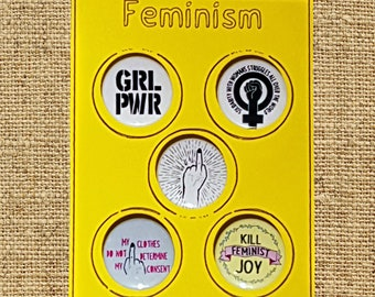 5 FEMINISM Badge, Magnet, Keyring or Mirror set or single Feminist, GRL PWR, Solidarity, Consent. Women's Rights protest 25mm 58mm