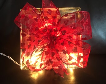 Valentine's Day Lighted Glass Block