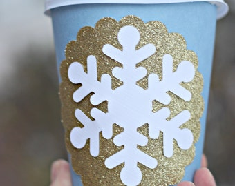 Winter Wonderland / ONEderland Birthday Party Hot Cocoa Cups. Blue, white, Gold, Snowflake party decoration.  Hot Chocolate / Coffee