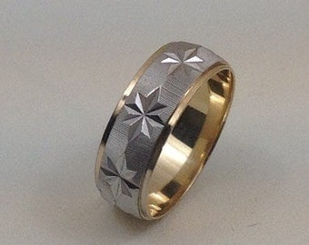 14 kt Gold 6mm two tone white and yellow gold size 5 1/2 band
