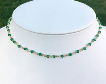 Green Onyx/Gold Gemstone Choker, Green Beaded Choker, Choker Necklace, Choker for women, Trendy Choker Necklace, Beaded Wrap Bracelet