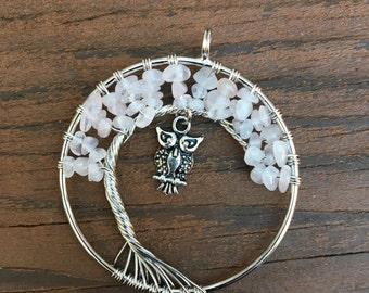 Rose Quartz Tree of Life Pendant with Owl Charm