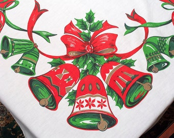 Vintage Christmas Bows & Bells Tablecloth, Holiday Banquet Table Linen, 60 by 84, Christmas Bells, Ribbons, Poinsettias, Cottage, Farmhouse