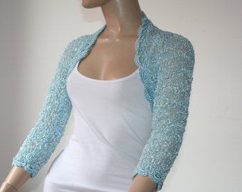Blue crochet shrug/ Wedding bolero shrug//Bolero jacket/Lace shrug/Bridal shoulders cover/Bridesmaids Cover up Bolero