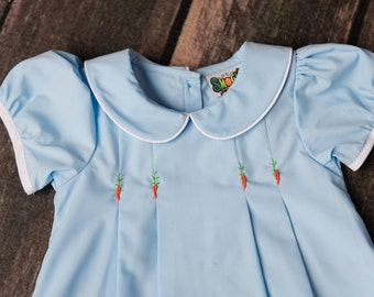 Blue Dress with Embroidery Carrots