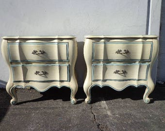 2 Nightstands Tables French Provincial Bombe Shabby Chic Glam Regency Carved Wood Furniture Bedside Bedroom Storage Pair CUSTOM PAINT AVAIL
