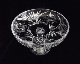 crystal compote, crystal pedestal bowl, crystal candy dish, floral and fan pattern,  item # 9