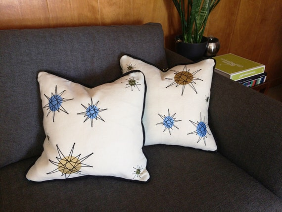 Mid-Century Modern Pillows with Embroidered Franciscan