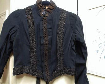 RESERVED Victorian Black Bodice with Black Jets, Bust 38""