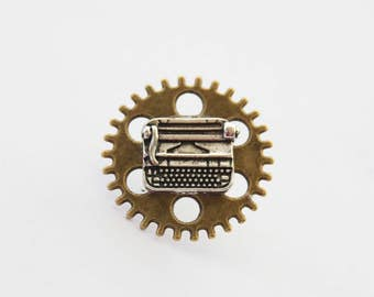 Writer Tie Pin, typewriter Pin, Typewriter Tie Pin, Writer Tie Pin, Typewriter Tie Tack,  Writer Gifts, Writer Jewelry, Typewriter Jewelry