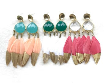 Gemstone and Triple Feather Long Earrings