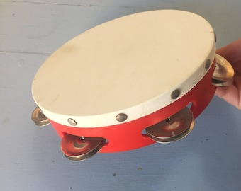 Vintage Werco Red Wooden Tambourine with Original Box - Musical Instrument - Child's Toy - Band Toy