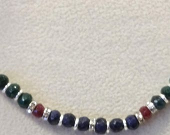 Ruby Emerald Sapphire Swarovski sparkly beaded sterling silver bar necklace pendant