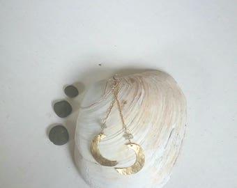Gold moon earrings, long dangle moon earrings, earthy boho dangle earrings, hammered gold earrings, rustic unique earrings, opal earrings