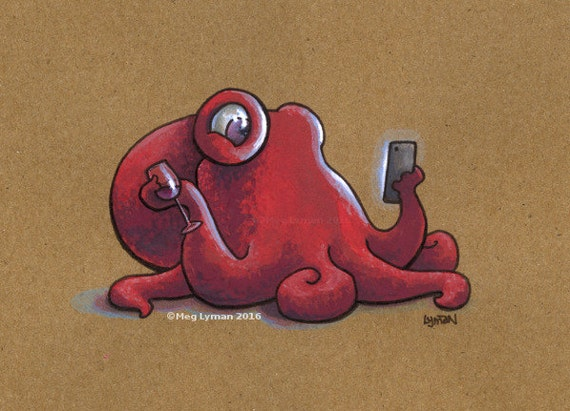 Cell Phone and Wine - Gouache Painting
