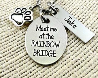 Pet Loss Remembrance - Meet Me At the RAINBOW BRIDGE - Engraved Necklace or Bangle Bracelet - Dog Cat Pet   Memorial Memento  Jewelry