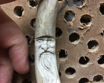 Antler Carving, Bone Sculpture, Handmade Ornament, Keychain, Gift for Him, made in Ohio by Josh Carte, Wood Spirit, Old Man with Beard