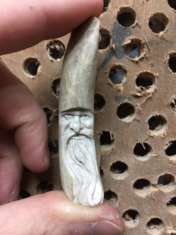 Antler Carving Bone Sculpture Handmade Ornament Keychain
