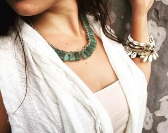 Handmade Hemp Macrame Necklace with Green Aventurine Semi Precious Stone Beads