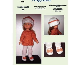 Corolle Les Cheries, PDF dolls clothes knitting pattern, Hat, sweater, leggings and shoes, 13 to 14 inch dolls
