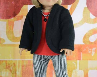 JACKET Cardigan Sweater in Black Fleece LEGGINGS Tee Shirt Necklace and HAT Cap and Shoes Options for American Girl or 18 inch doll