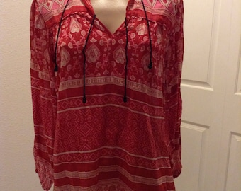 2nd payment Reserved do not purchase Vintge India Block Print Mahudi'sTop Blouse boho hippie Festival