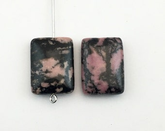 2 rhodonite stone beads/ 15mm x 20mm #PP348