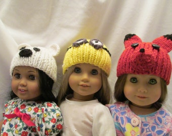 Three Different Hat to Pick From for Your 18'' Dolls, A Polar Bear, A Minion, or a Fox, Each Fit 18'' Dolls, Great Winter Hats, Fun for Fall