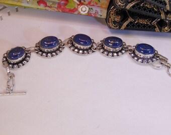 Vintage Sterling Lapis Lazuli Bracelet