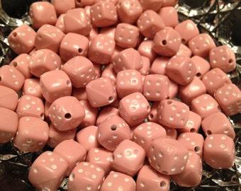 Pink Dice Resin Beads