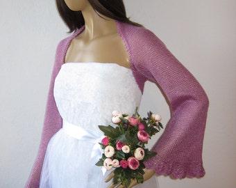 Bridal Shrug, Pink Shrug, Evening Bolero, Pink Wedding Shrug